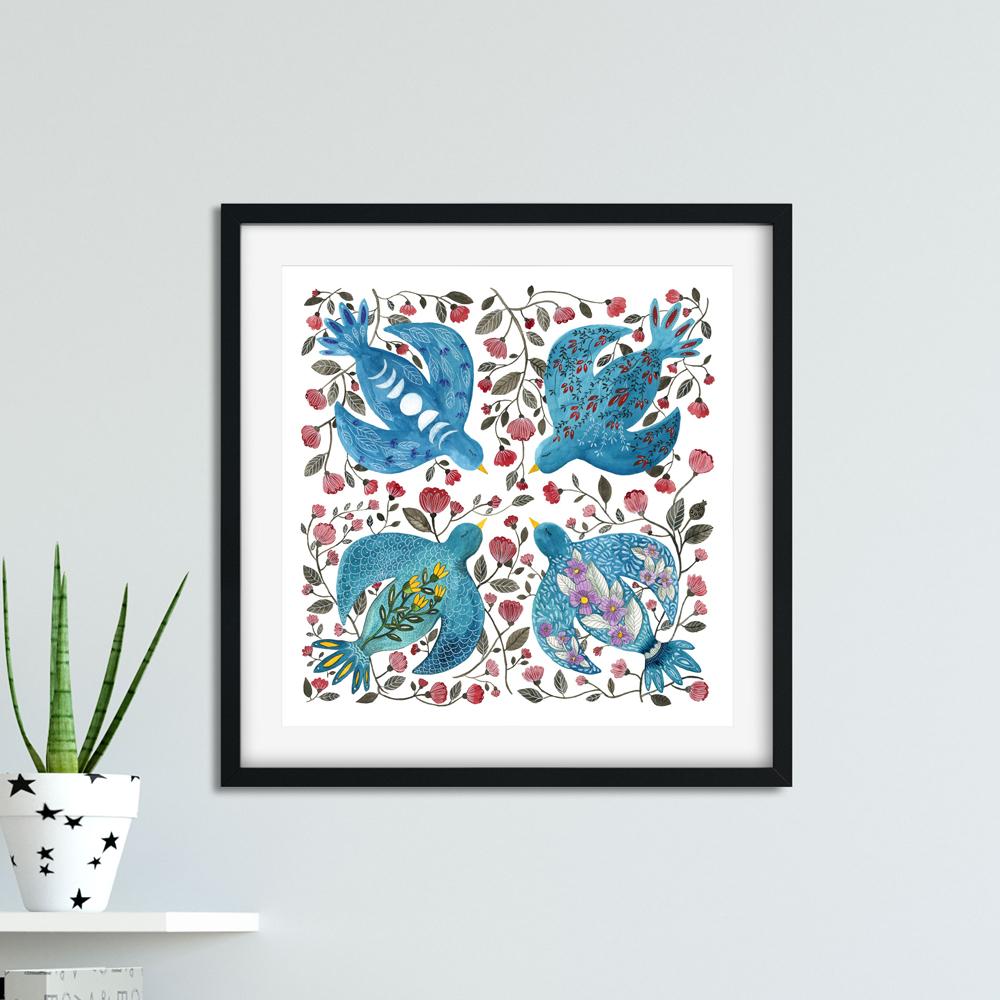 Four Birds print in frame