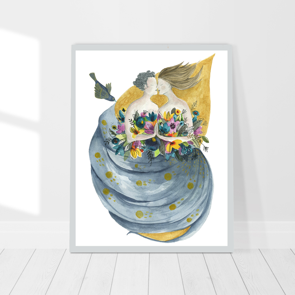 The wedding print watercolor painting in frame