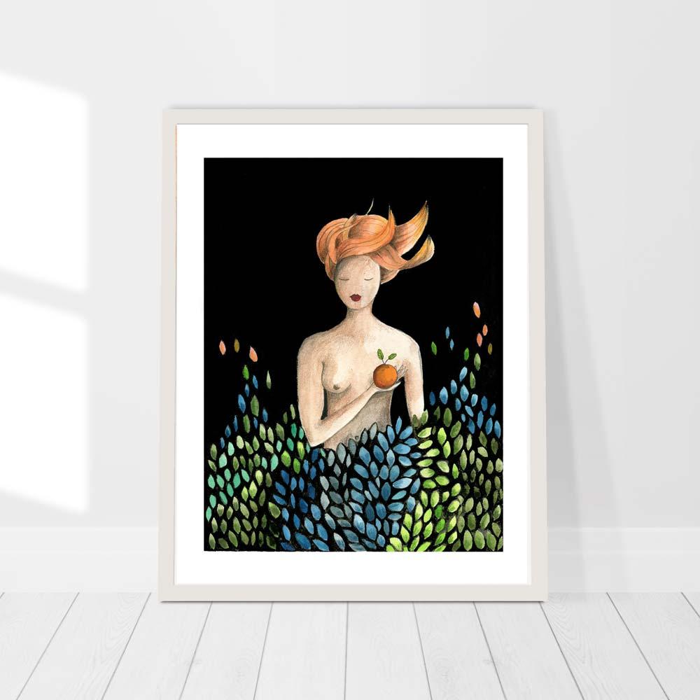 Woman with Orange wall art print