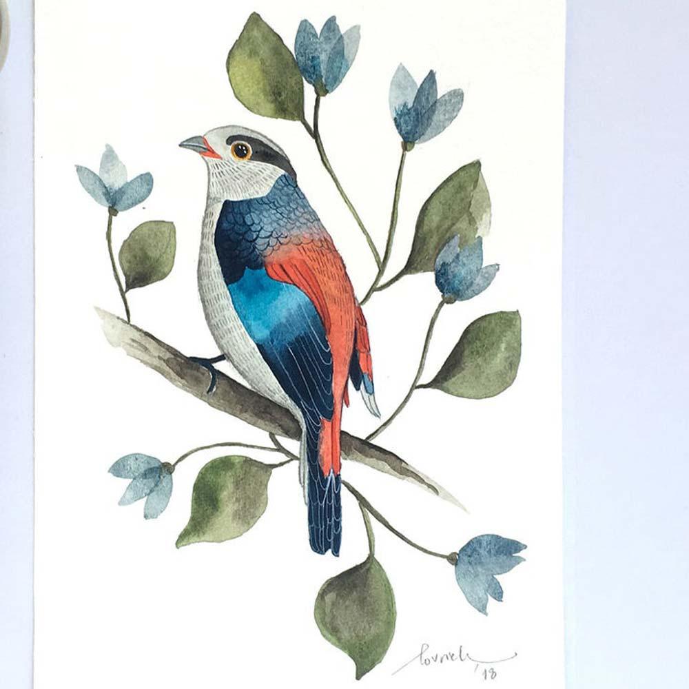 Bird watercolor detail