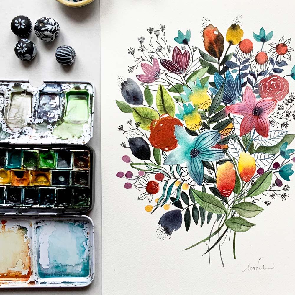 Flowers original in watercolor