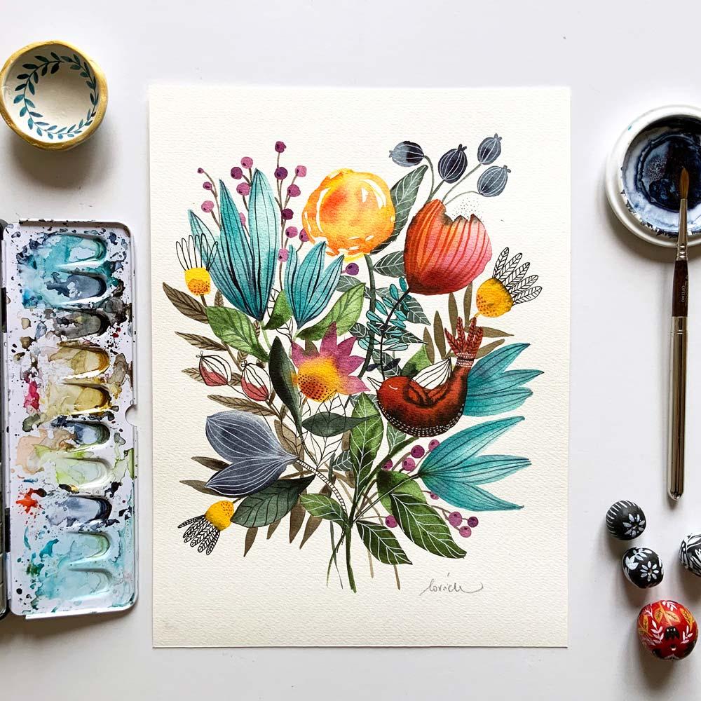 Flowers original #10 watercolor painting