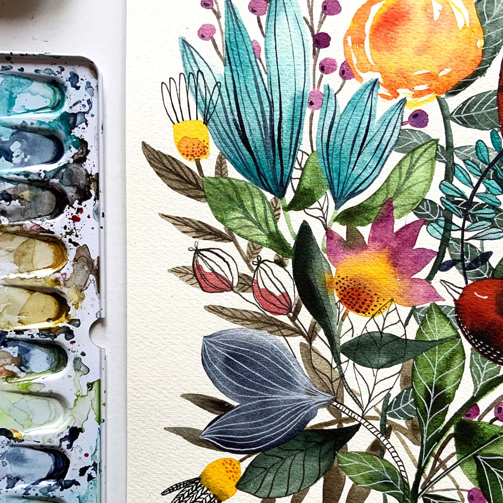 Flowers original painting detail