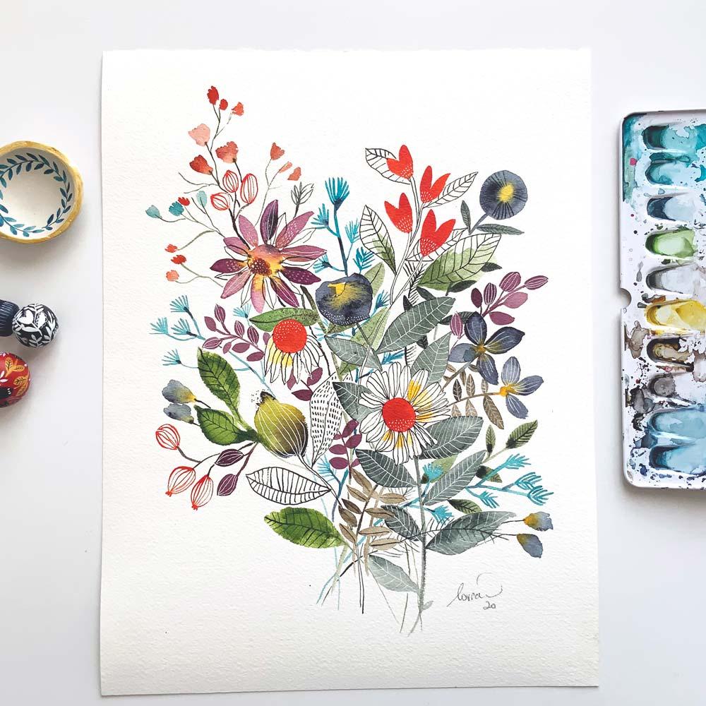 Flowers original watercolor art