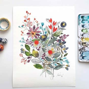 Flowers original watercolor painting