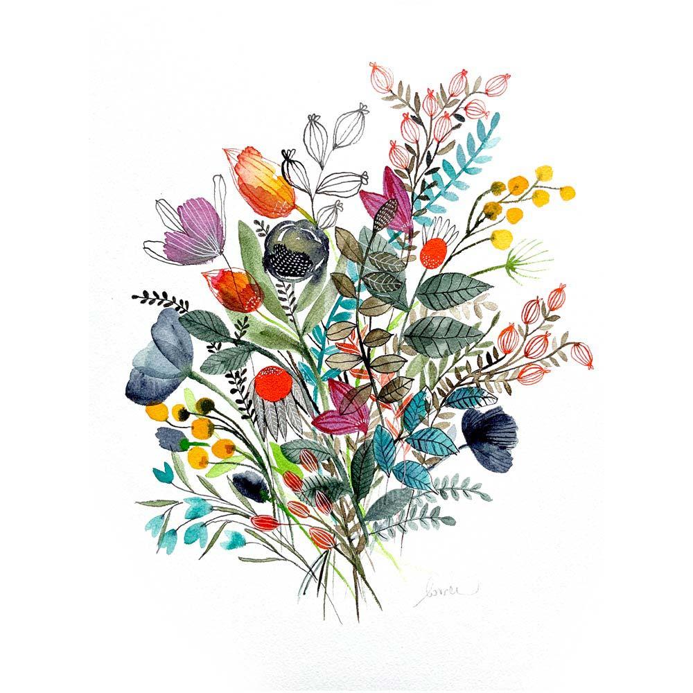 Flowers original watercolor illustartion