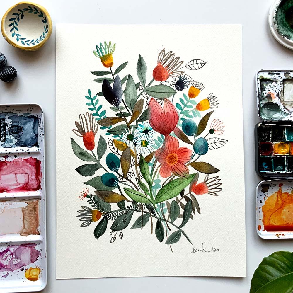 Flowers original #7 watercolor