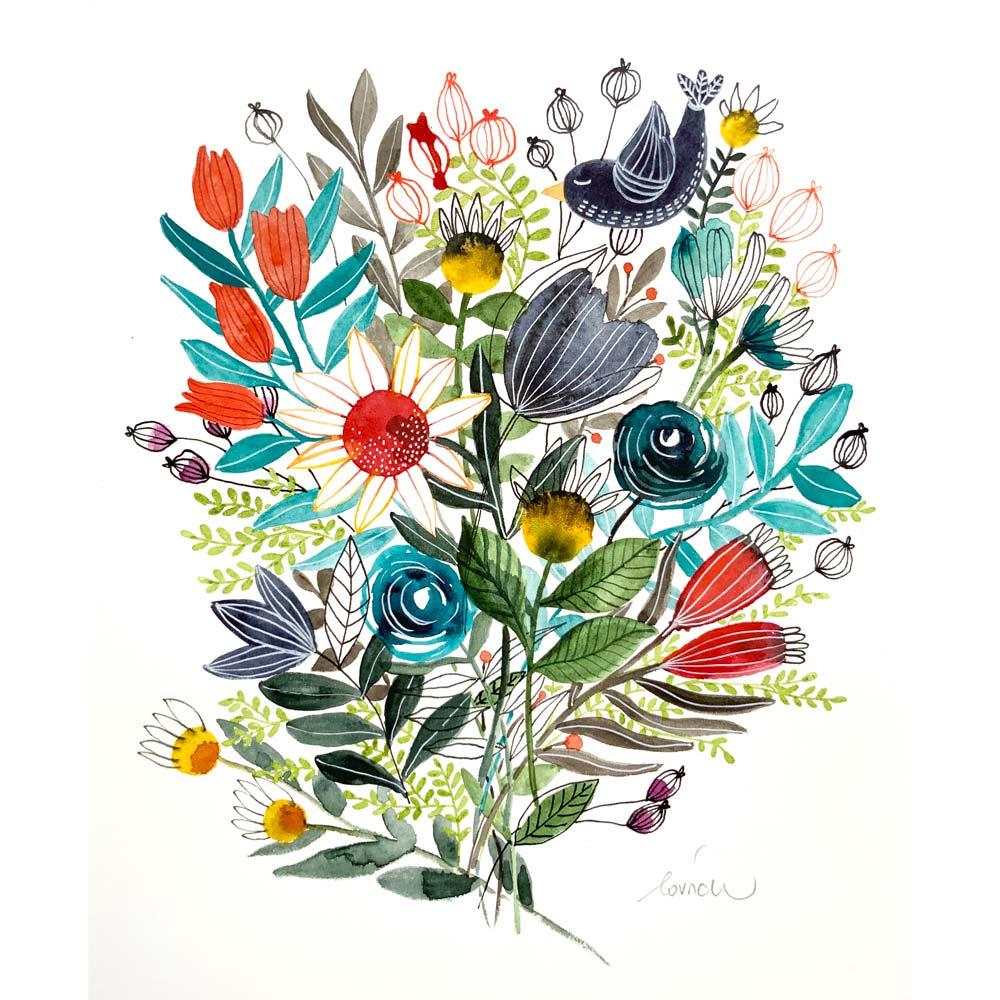 Flowers 9 original in watercolor