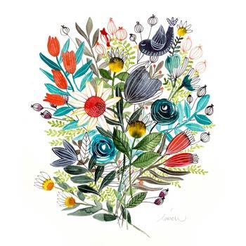 Flowers watercolor original painting