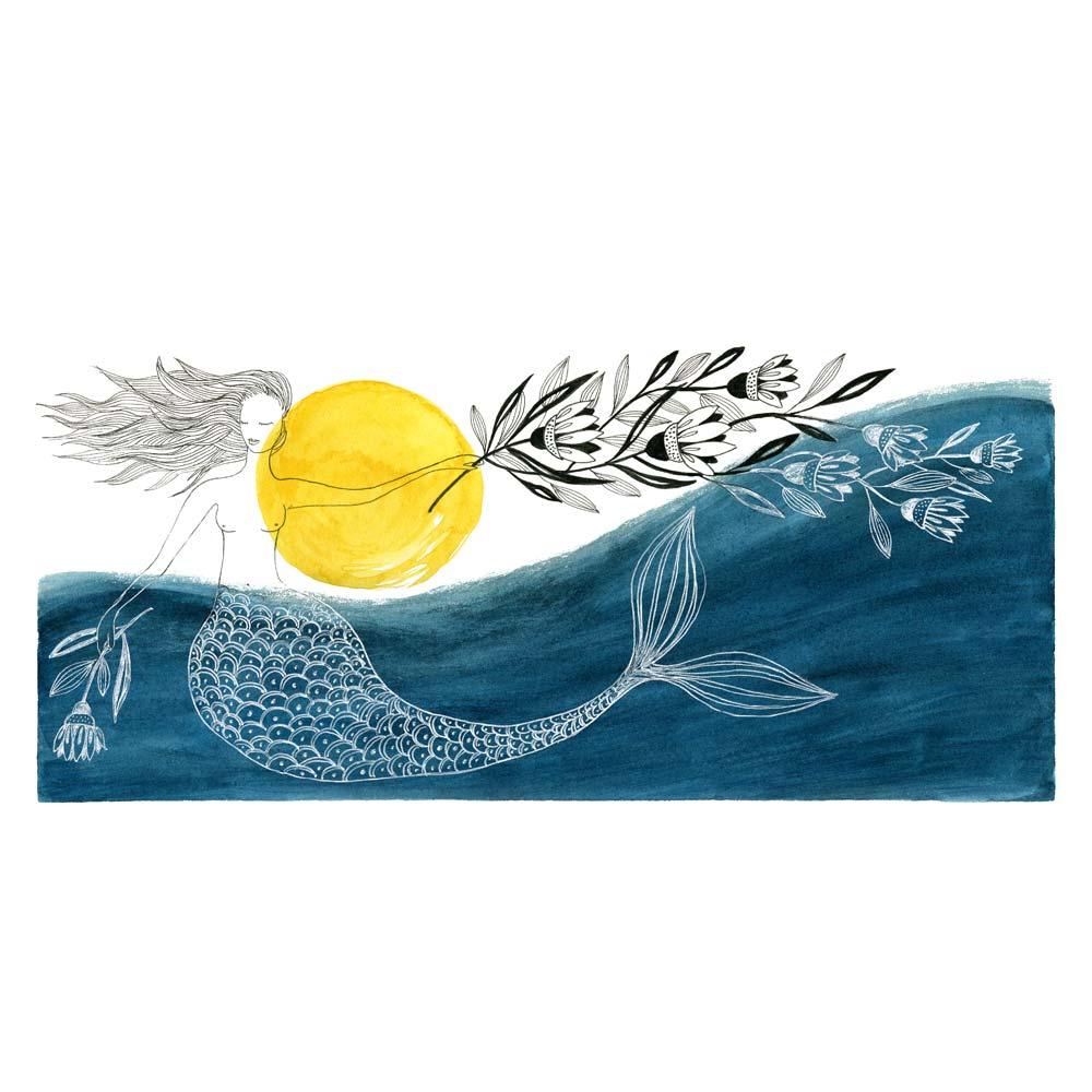 Blue mermaid watercolor illustartion