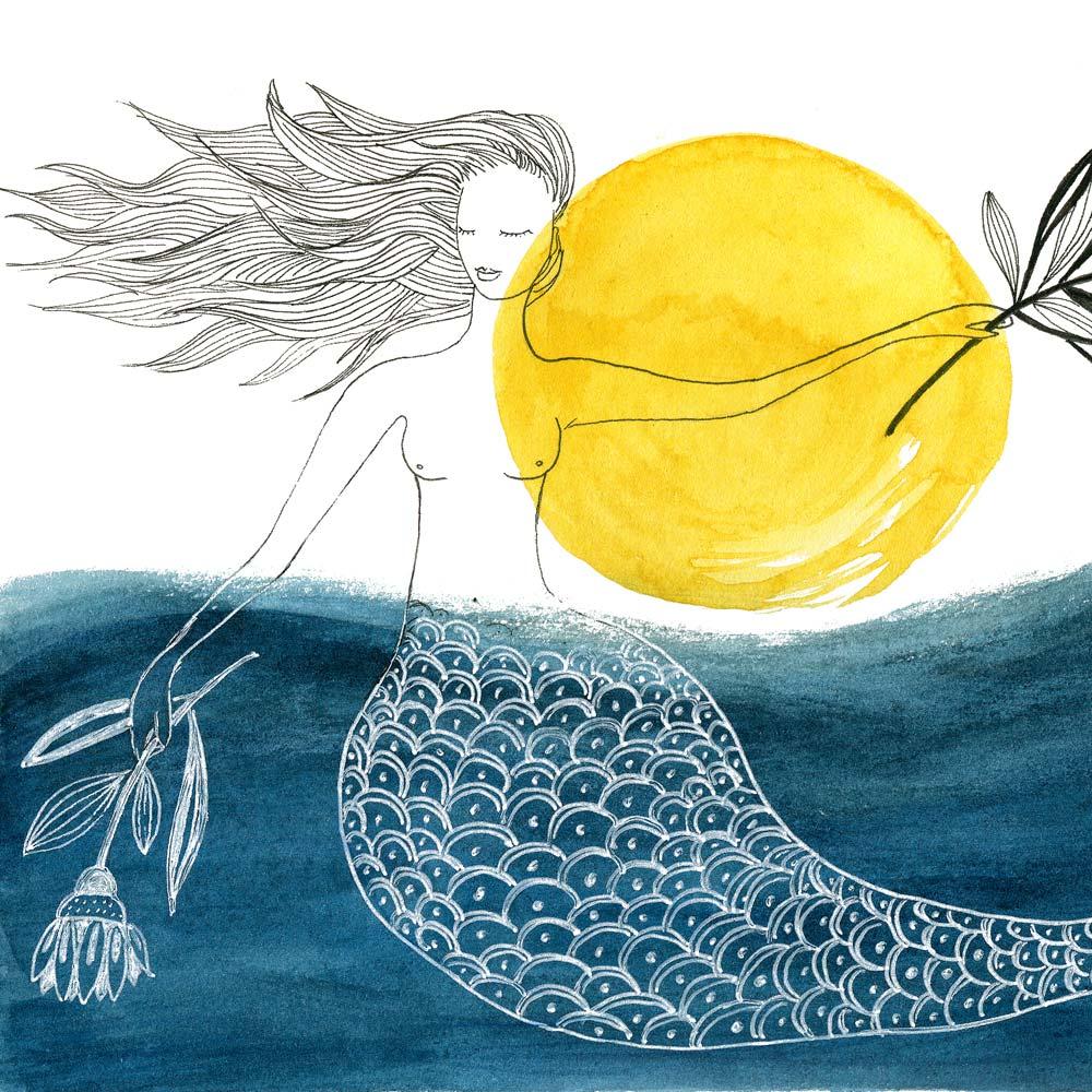 Blue mermaid print