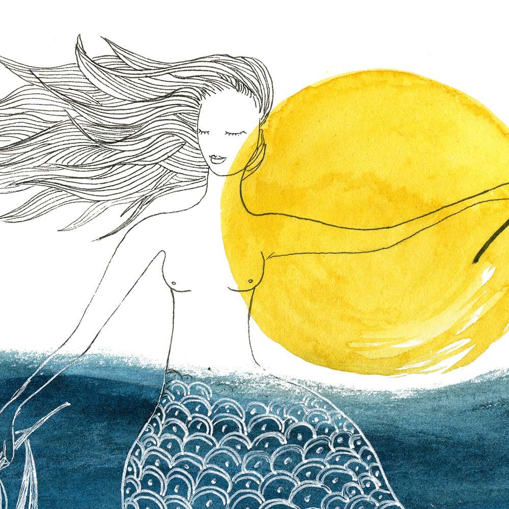 Blue mermaid watercolor paint detail
