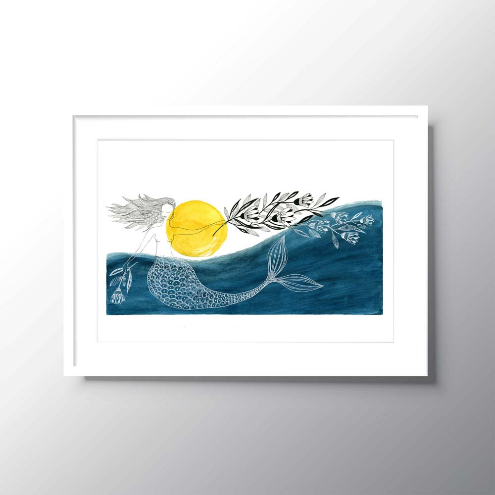 Blue mermaid illustration in frame