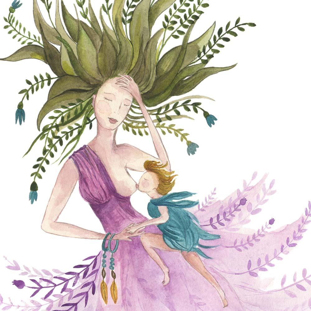Breastfeeding in watercolor
