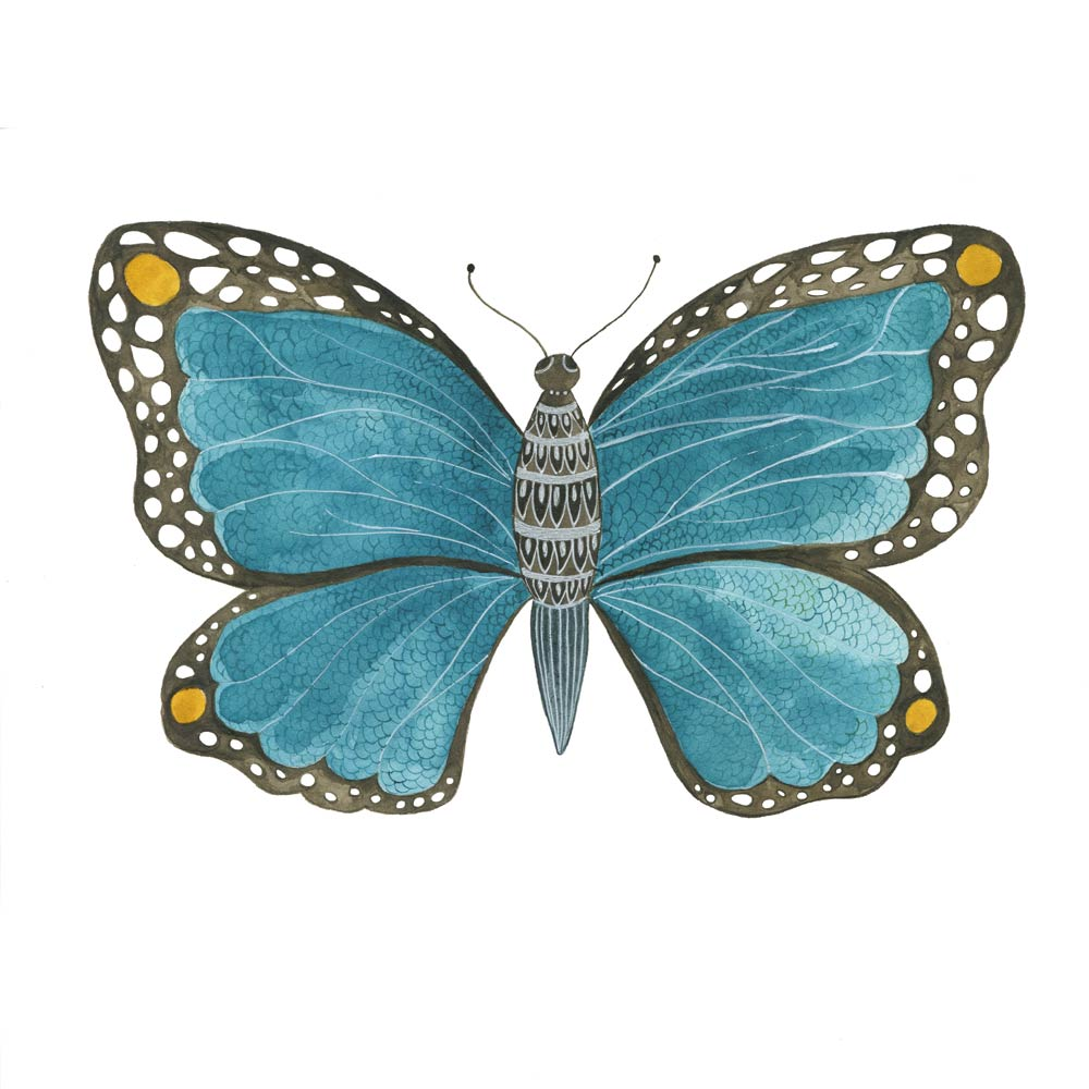 Blue Butterfly watercolor painting