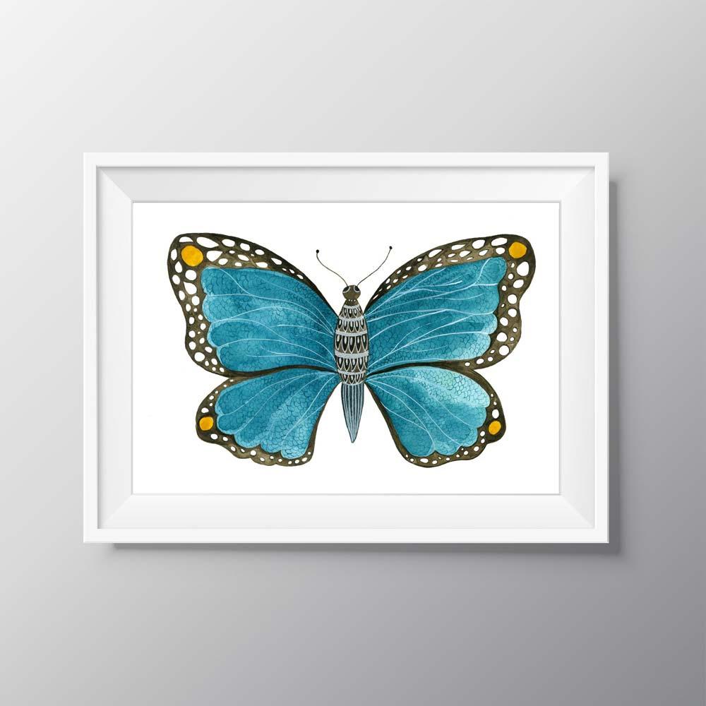 Blue Butterfly illustration in frame