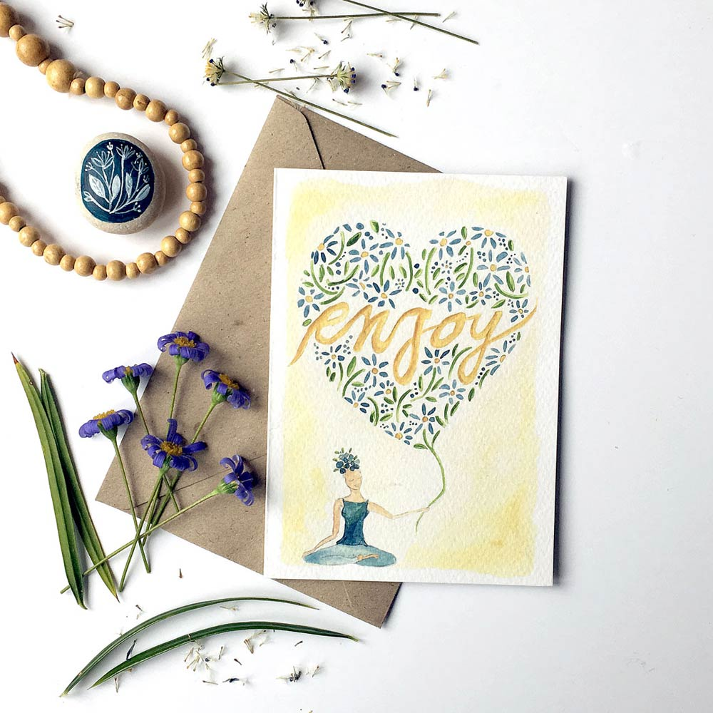 Enjoy watercolor greeting card