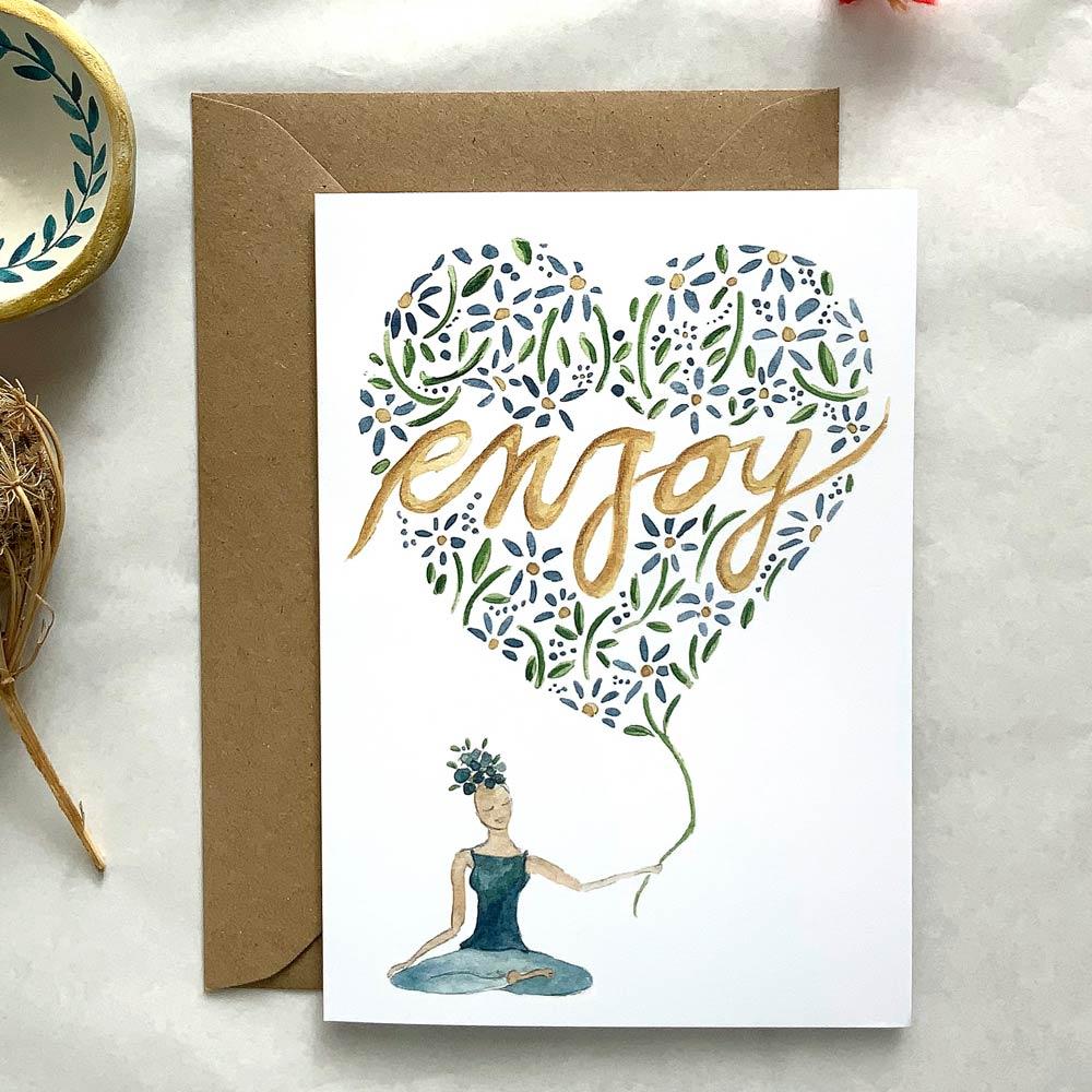 Enjoy white watercolor card
