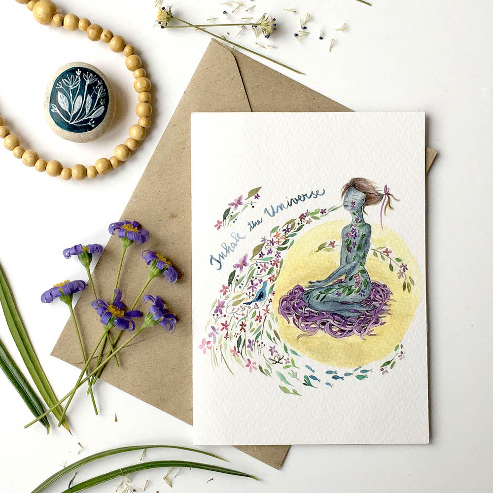 Inhale the universe yoga greeting card