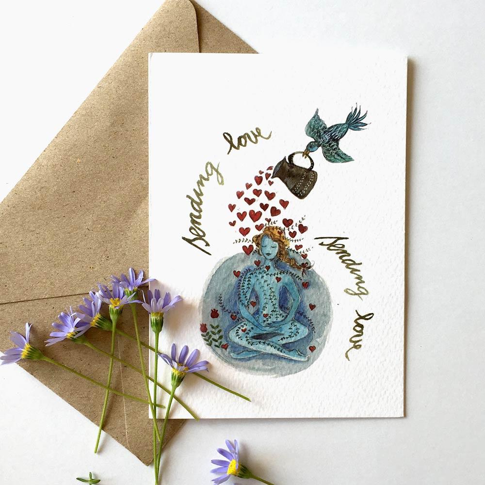 Sending love yoga greeting card