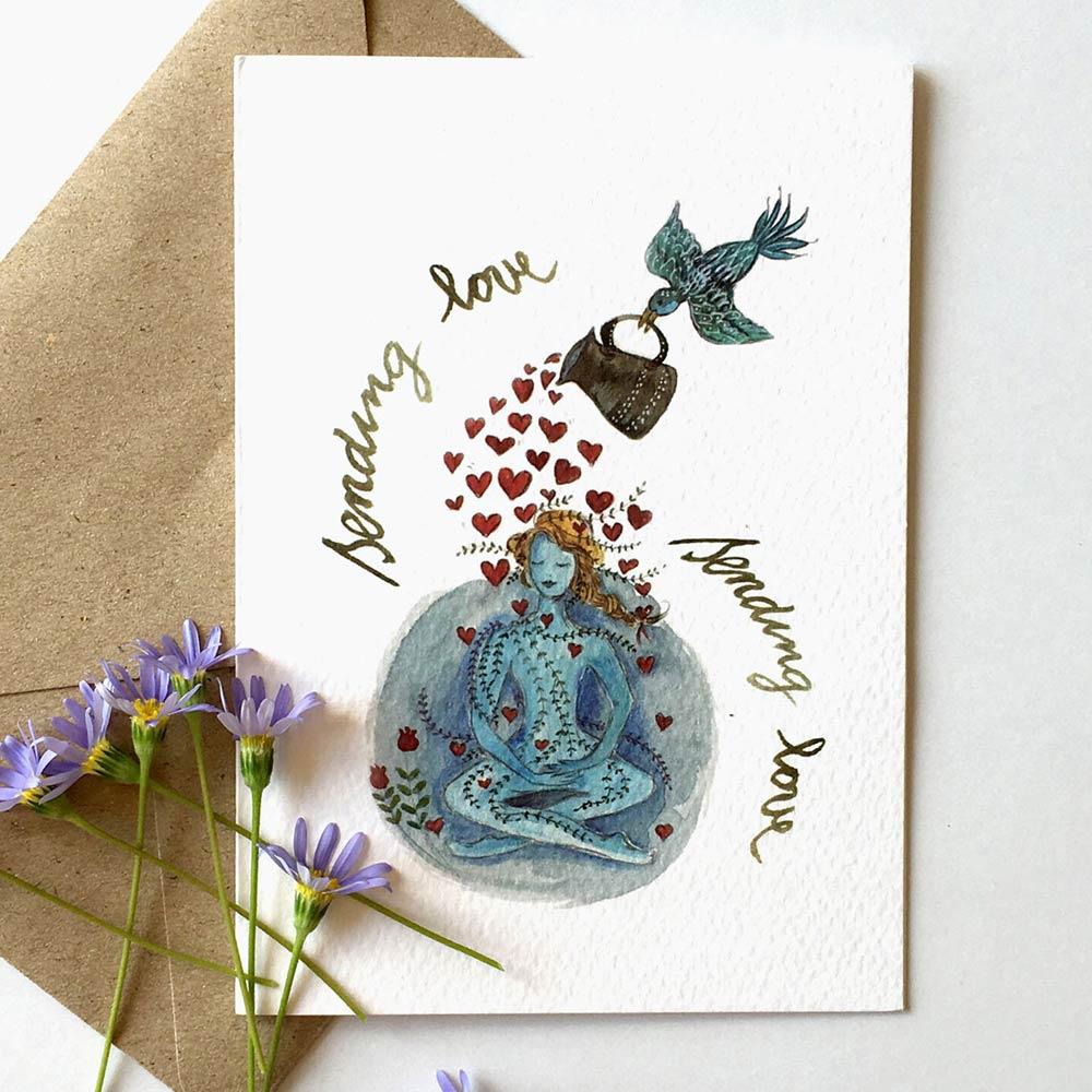 Sending love post card