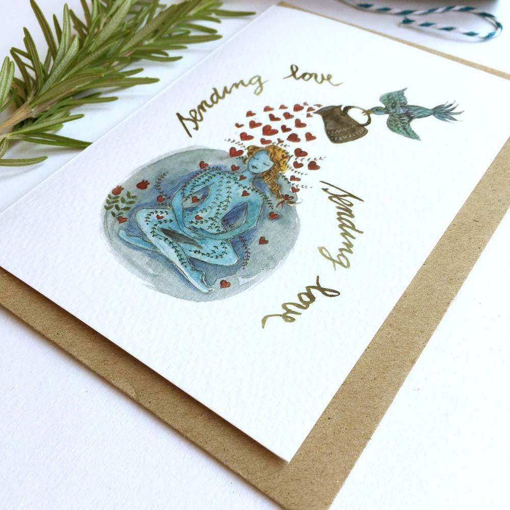 Sending love watercolor card