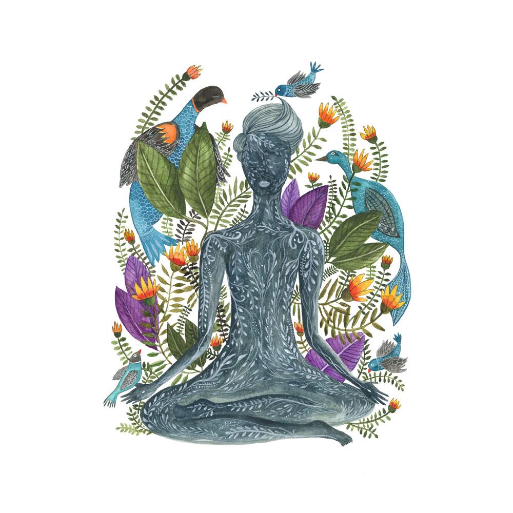 Inner Yoga watercolor paining