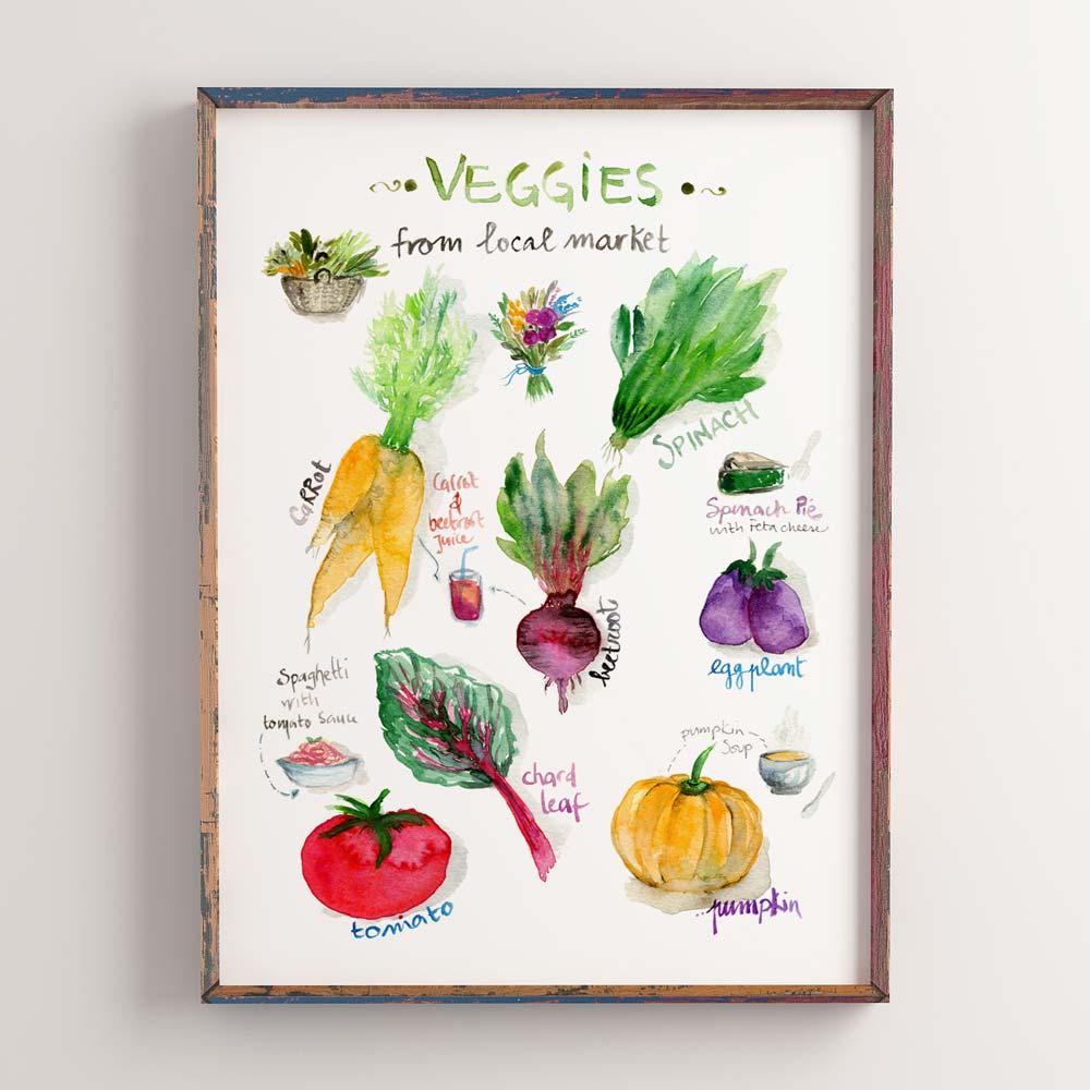 Local market watercolor illustration