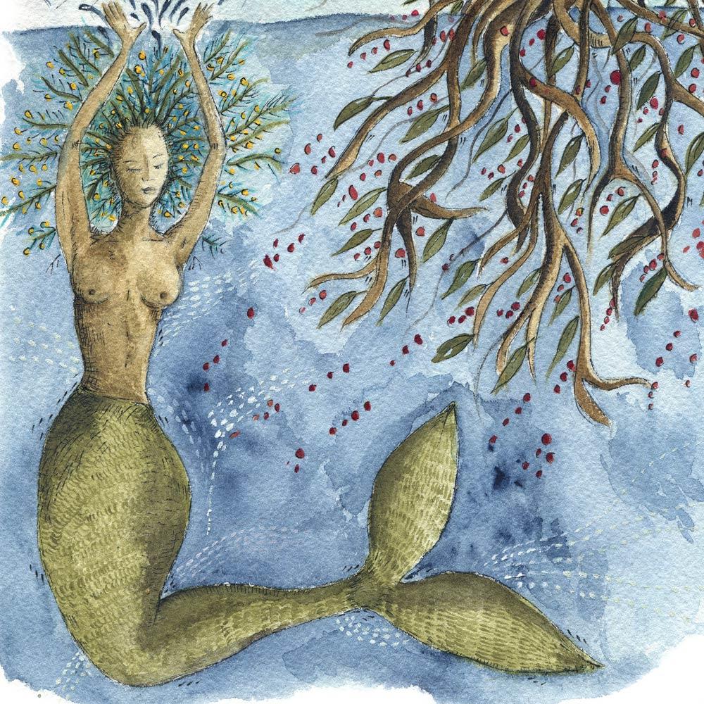 Mermaid watercolor painting detail